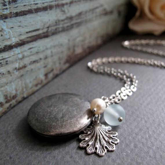 Antique Silver Locket, Shell Necklace Locket, Pearl and Sea Glass, Vintage Long Necklace Locket - SHORELINE