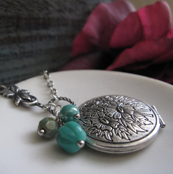 Flower Necklace Locket, Antique Silver Locket, Long Necklace, Teal Blue Turquoise Necklace - PEPPERMINT TEA