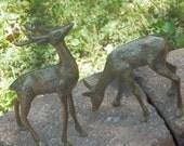 Vintage- large pair of brass deer