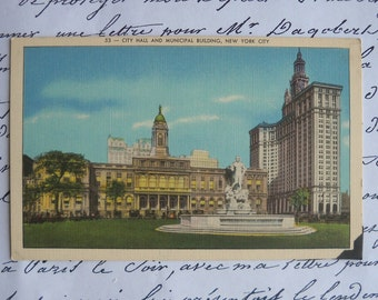 vintage City Hall and Municipal building -  New York City postcard