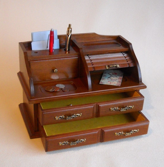 Vintage Secretary Desk >> vintage wooden secretary desk organizer