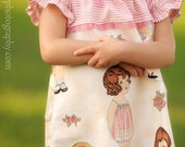 Playing with Paper Dolls - Custom Made To Order Ruffled Girls Peasant Dress - Sizes 6-9m, 12-18m, 2t, 3t, 4t