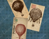 Vintage Balloon Postcard Tags  Digital Download