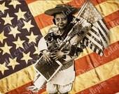 Vintage Old Glory Patriotic Flag Tags, Digital Download
