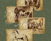 Vintage Horses Sepia Collage Sheet Digital Download