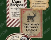 Santa's ChristmasVintage Pantry Labels Digital Download