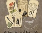 Vintage Pen and Ink Tags Printable Digital Download