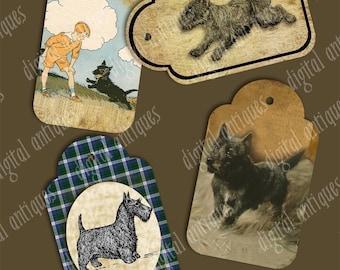 Vintage Scottie Dog Tags - Scottish Terriers  - Digital Download