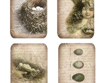 Vintage Nest and Egg Tags Easter Printable Digital Download