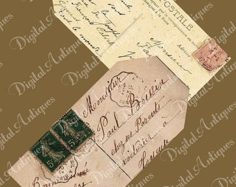 Vintage Post Card Printable Tags Instant Digital Download