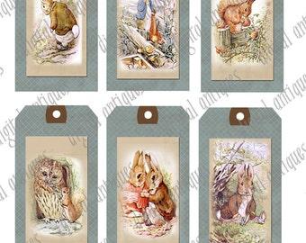 Beatrix Potter Animal Image Tags Printable Digital Download
