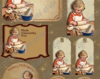Vintage Christmas Cookie Baking Tags Instant Digital Download