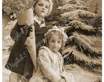 Christmas Past  Antique Photo Tags Printable Instant Download