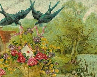 Sweet and Sentimental Vintage Tags Birds Flowers Digital Download
