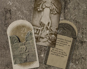 Halloween Vintage Grave Stone Images Instant Digital Download