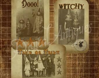 Vintage Halloween Costumes Sepia Instant Digital Download