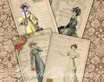 Regency Fashion Cards Jane Austen Era Digital Download