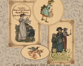 Kate Greenaway Vintage Postcards Tags Instant Digital Download