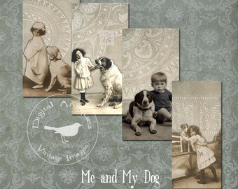 Me and My Dog Vintage Tags Instant Digital Download