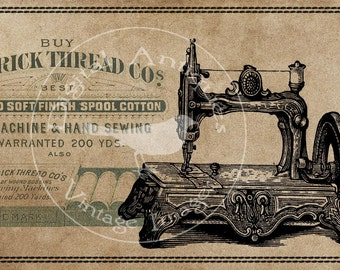 Vintage Sewing Cards Sepia Image Collage Sheet Digital Download