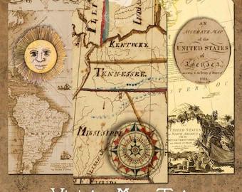 Vintage Map Tags Printable Instant Digital Download