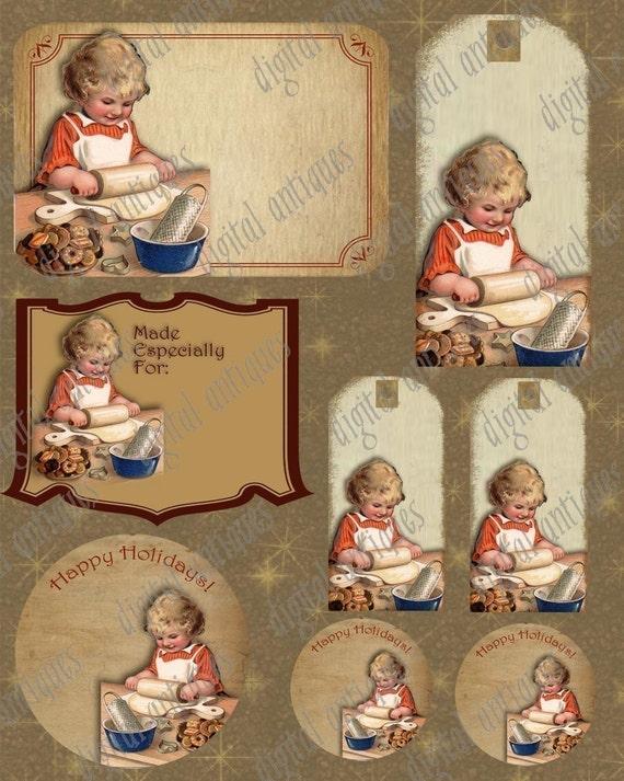 Vintage Christmas Cookie Baking Tags Instant Digital Download
