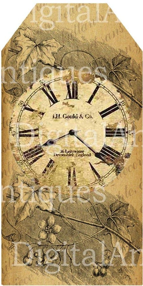 Vintage Clock Tags Sepia Printable Digital Download