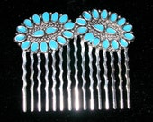 OOAK reclaimed Turquoise and silver plate Hair Comb VINTAGE to Reclaimed