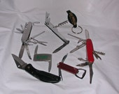 6 pc pocket  KNIFE LOT all knives in used condition Plus one marked ZIPPO