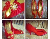 ON SALE Vintage Red Heels with Flower in Gold, Clear Stones and Pearls Sz 7