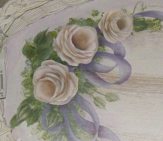 White Rose Wicker Basket