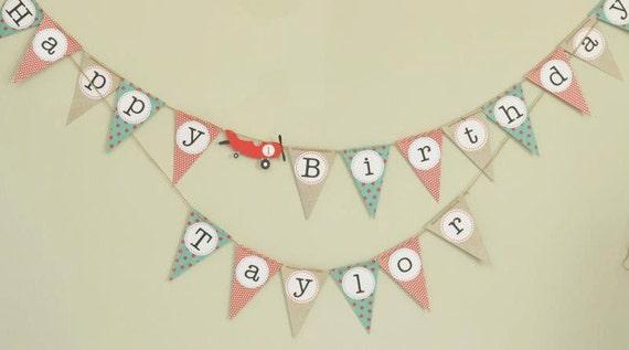 Airplane Birthday banner, personalized banner, Vintage airplane birthday, Airplane birthday party