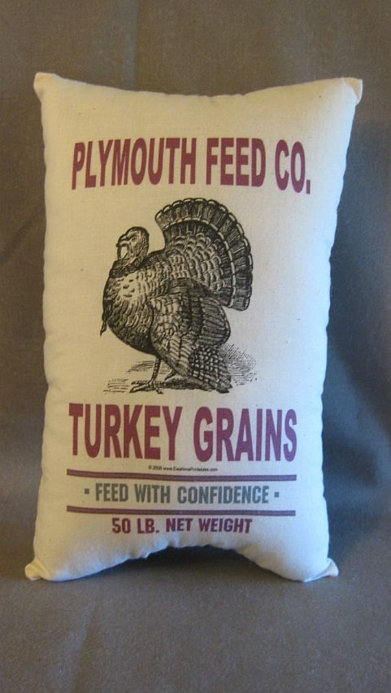 TTOFG   Feed Sack Pillow,  Turkey Feedsack Pillow, RESERVED