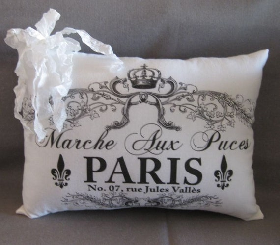 Paris Street Graphic, Shabby Pillow, Romantic, White, Cottage