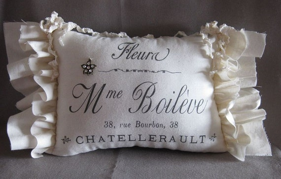 French Country, Flower, Graphic Pillow, Ruffles, Hanging Pillow, Romantic, Cottage Chic, Ribbon