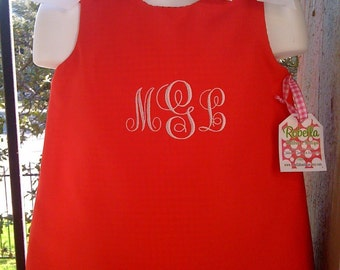 Custom Boutique monogrammed Christmas dress Red