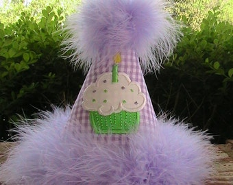 custom boutique lavender and green Birthday party hat