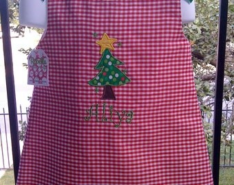 CUSTOM MONOGRAMMED PERSONALIZED CHRISTMAS TREE A LINE DRESS
