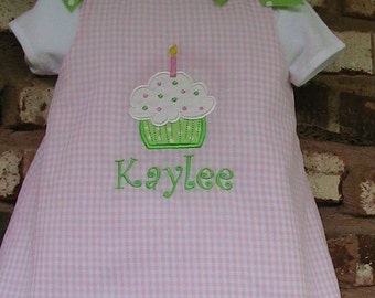Pink  Gingham Birthday A-Line Jumper Dress with Cupcake Applique and Monogram 6M 12M 2T 3T 4T 5T