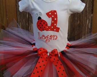 Ladybug  1st,2nd,3rd,4th,5th Birthday Tutu OUTFIT Birthday Tutu Set-available in sizes 3m- 5T -can be customized with any color -FREE coordinating headband