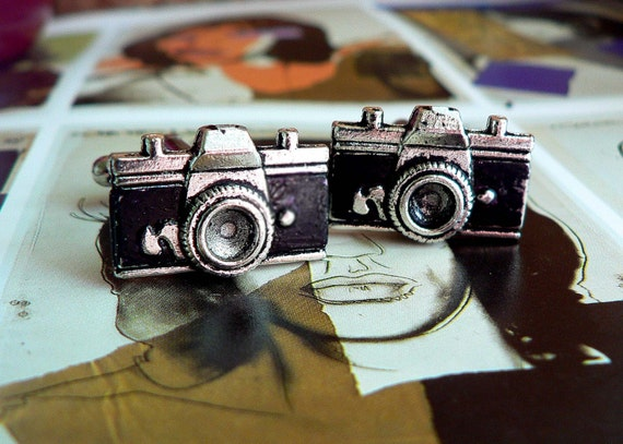Black and Silver / SLR Camera Cufflinks