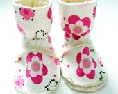 Pink Flowers and Sherpa Toasty Tundra Baby Boots Size 0-6, 6-12, 12-18 or 18-24 months