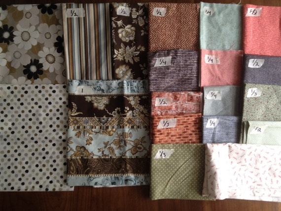 Stash: 8 yards french country Quilting fabric. Michele D'amore, brown, blue, bricks, benatex, daisies, daisy