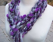 Hand Knit Scarf - The Pippy SILVER PURPLE pom pom Scarf - Purples, Lilac, Lavender, Orchid, Plum, Grays, Pearl, Silver, Black