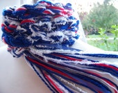 New York GIANTS, NFL Scarf , College Scarf, Red White Blue and Silver Gray