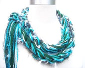 Blue and Green Crochet scarf, University Scarf Graduation Gift
