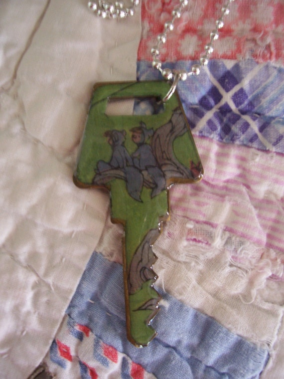 Disney's Peter Pan Altered Art Key Necklace Featuring The Lost Boys