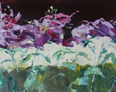 Reserved for Sheri abstract daylilies original oil painting contemporary flower canvas wrap garden fine art 8 x 16