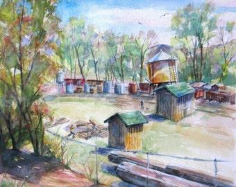 train station Original Watercolor landscape painting impressionism railroad trees buildings western fine art  11 x 13