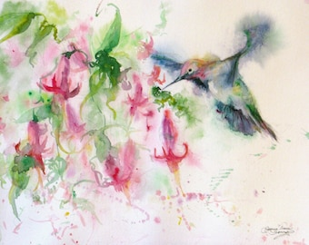 Hummingbird watercolor signed art print, hummingbird art, fuschia giclee print,original flower art,wall decor, Janice Trane Jones,home decor